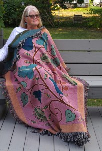"Wynn Yarrow ""Garden Fantasy"" (model) 100% cotton jacquard woven tapestry/blanket, (made in the USA), design by Wynn Yarrow $225. Inquire on availability of colors/designs"