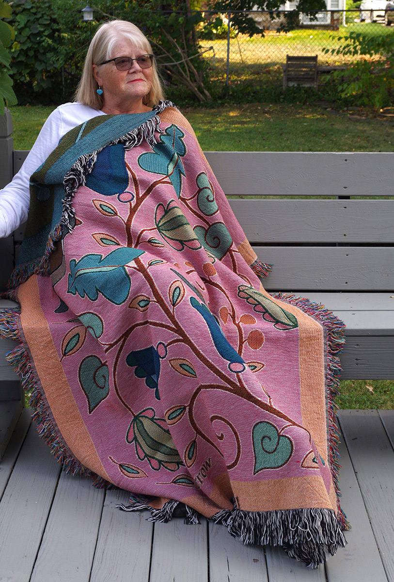 """Wynn Yarrow """"Garden Fantasy"""" (model) 100% cotton jacquard woven tapestry/blanket, (made in the USA), design by Wynn Yarrow $225. Inquire on availability of colors/designs"""