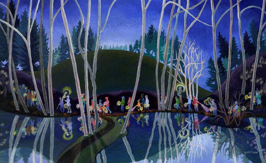 "Wynn Yarrow ""Solstice Walk Bird Marsh"" 17x11 acrylic/gouache $1,400."