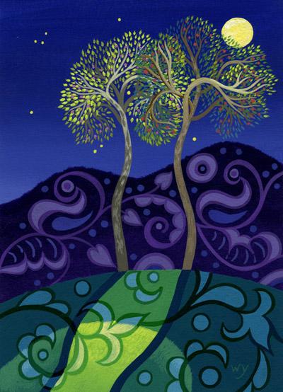 "Wynn Yarrow ""Vienna's Moon in My Backyard"" 7x5 acrylic gouache $385. SOLD"