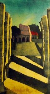 "Treacy Ziegler ""Mayan Shadows"" 43x24 monoprint $2,000."