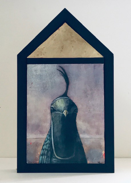 """Treacy Ziegler """"The Call to Another - Quail"""" 22x13 oil/panel $1,600."""