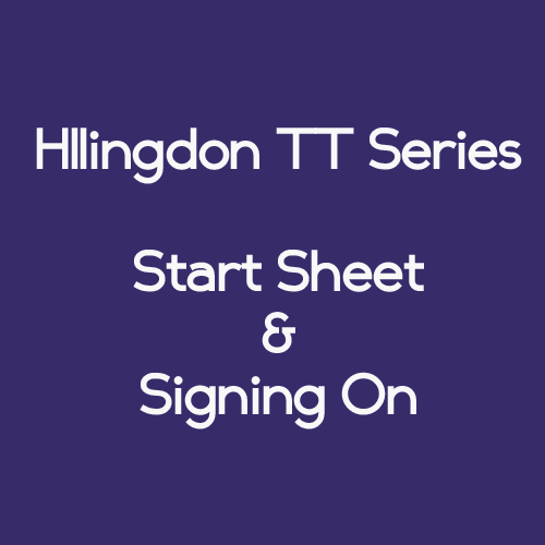 Hillingdon Series Event 4 18th May Start Sheet