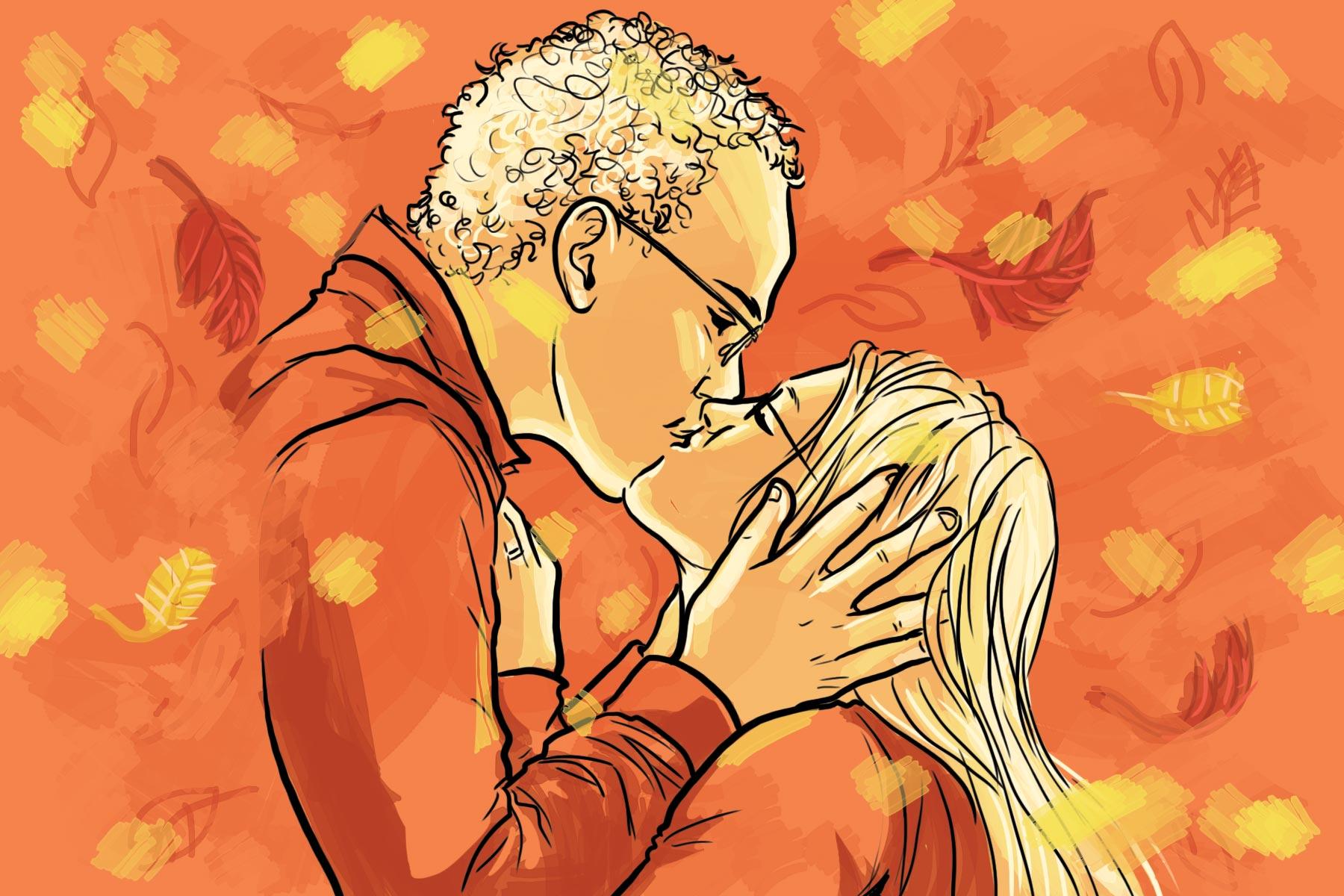 Romantic Couples Portrait Autumn Kiss