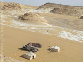 View from above on our camp in the Western Desert of Egypt