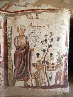 Wall painting in the tomb of Petosiris in the Qarat al-Muzawwaqa