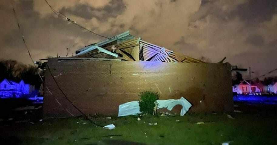 Mount Bethel Missionary Baptist Church in Nashville shows the damage it took when tornadoes struck central Tennessee on Thursday.