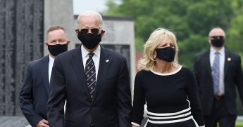 Democratic presidential candidate and former Vice President Joe Biden and his wife, Jill Biden, leave Delaware Memorial Bridge Veteran's Memorial Park after paying their respects to fallen service members in Newcastle, Delaware, on May 25, 2020.