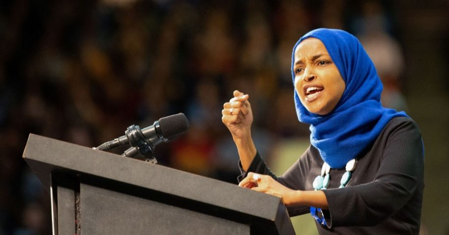 Democratic Rep. Ilhan Omar of Minnesota speaks to the crowd during a rally for independent Sen. Bernie Sanders of Vermont, then a candidate for president, at the Saint Paul RiverCentre on March 2, 2020, in Saint Paul, Minnesota.