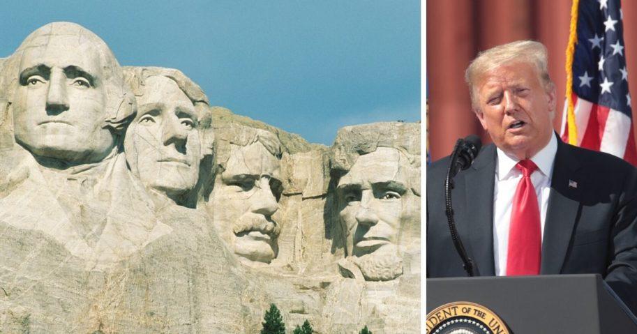 South Dakota's Mount Rushmore, left; President Donald Trump, right.