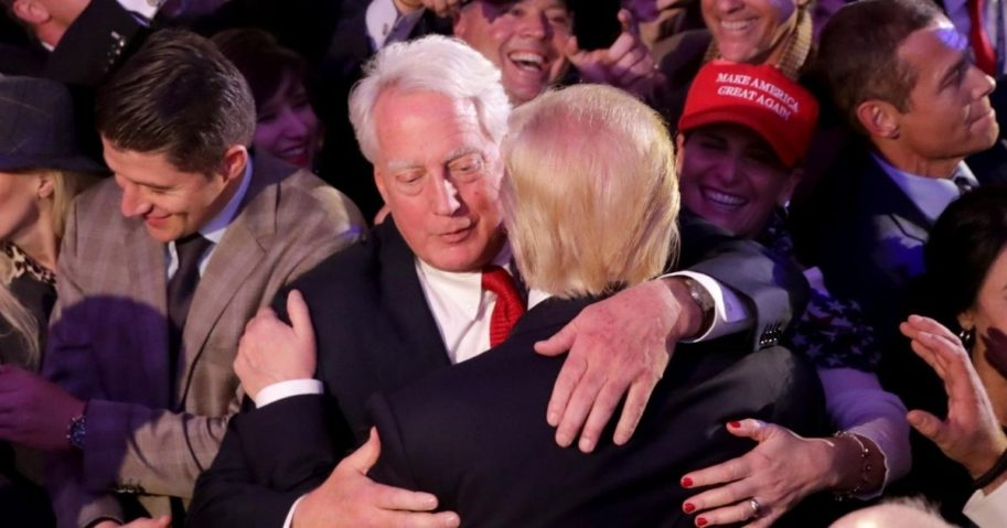 Then-President-elect Donald Trump (R) embraces his brother Robert Trump after delivering his acceptance speech at the New York Hilton Midtown in the early morning hours of Nov. 9, 2016 in New York City.