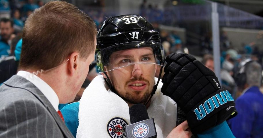 Logan Couture of the NHL's San Jose Sharks speaks with the media after defeating the Vegas Golden Knights in game four of the Western Conference Second Round during the 2018 NHL Stanley Cup Playoffs at the SAP Center on May 2, 2018, in San Jose, California.