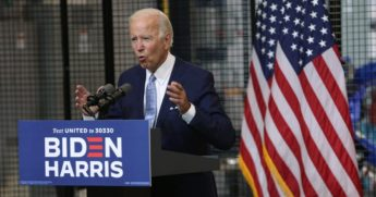 Democratic presidential candidate and former Vice President Joe Biden speaks at a campaign event in Pittsburgh on August 31, 2020.