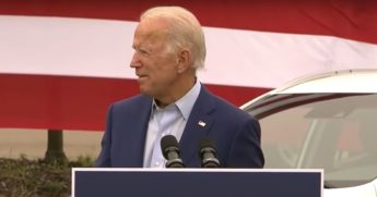 Democratic presidential nominee Joe Biden speaks in Warren, Michigan.