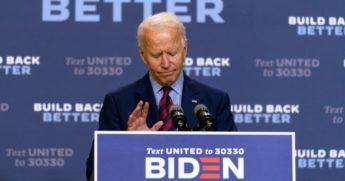 Democratic presidential nominee former Vice President Joe Biden pauses as he speaks in Wilmington, Delaware, on Sept. 4, 2020.
