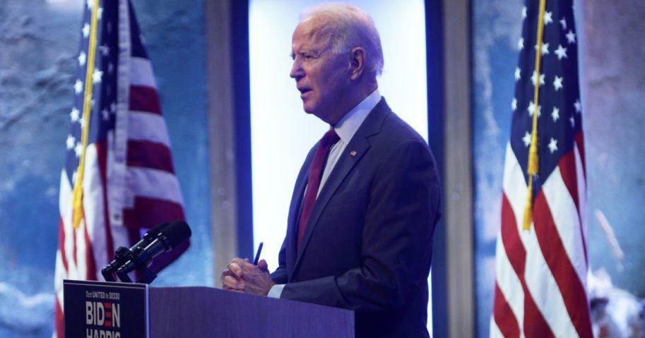 Democratic presidential nominee Joe Biden speaks during a campaign event on Sept. 27, 2020, in Wilmington, Delaware.
