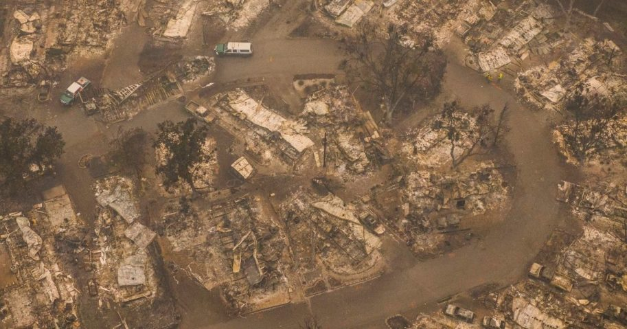 Damaged mobile homes can be seen in this aerial view from a drone in Ashland, Oregon, on Sept. 11, 2020.