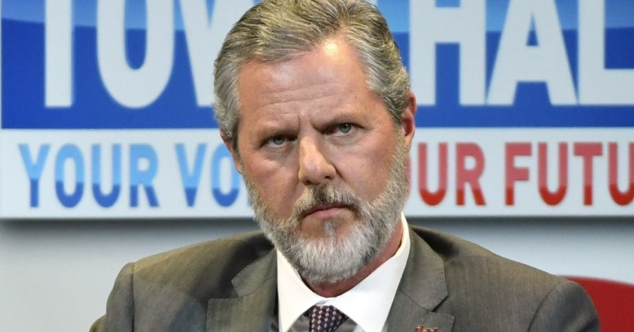 "Jerry Falwell Jr., at the time president of Liberty University, participates in a town hall meeting on the opioid crisis as part of first lady Melania Trump's ""Be Best"" initiative at the Westgate Las Vegas Resort & Casino on March 5, 2019, in Las Vegas."