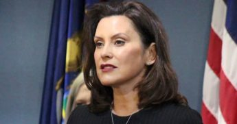 Democratic Gov. Gretchen Whitmer of Michigan delivers a speech in Lansing on April 29, 2020.