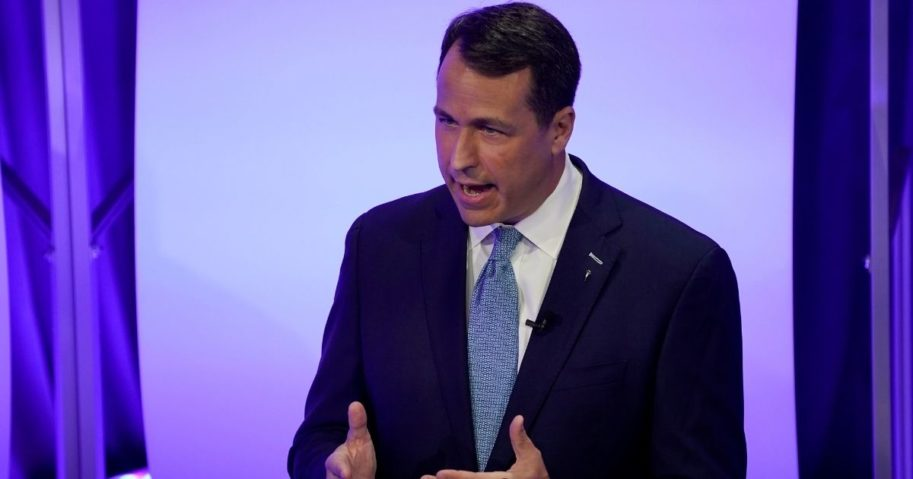 Democratic challenger Cal Cunningham speaks during a televised debate with North Carolina GOP Sen. Thom Tillis on Oct. 1, 2020, in Raleigh, North Carolina.