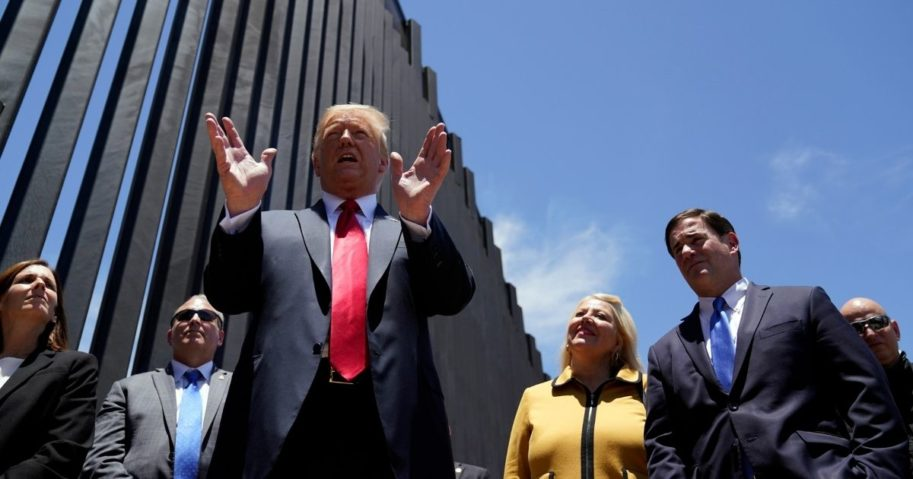 President Donald Trump speaks as he tours a section of the border wall on June 23, 2020, in San Luis, Arizona.