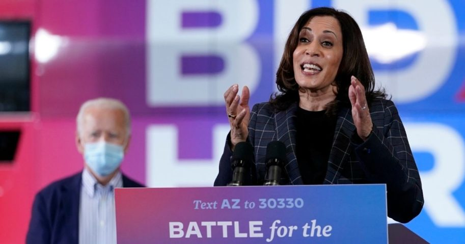 Democratic vice presidential nominee Kamala Harris speaks at Carpenters Local Union 1912 in Phoenix on Thursday to kick off a small-business bus tour.