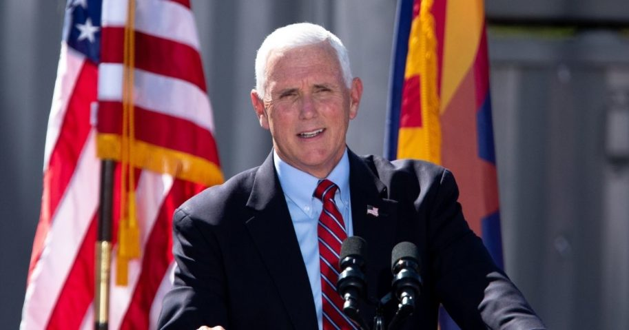 """Vice President Mike Pence speaks during a """"Make America Great Again"""" event at TYR Tactical in Peoria, Arizona, on Thursday."""