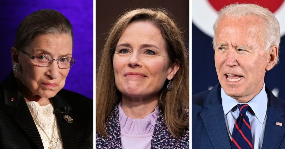 The late Supreme Court Justice Ruth Bader Ginsburg, left; Supreme Court nominee Amy Coney Barrett, center; and former Vice President Joe Biden, right.