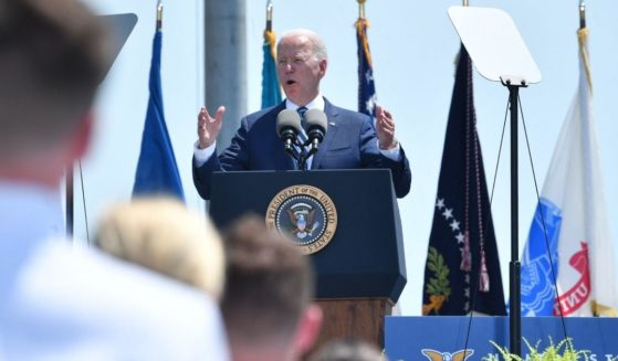 President Joe Biden speaks during the U.S. Coast Guard Academy's 140th commencement exercises on Wednesday in New London, Connecticut.