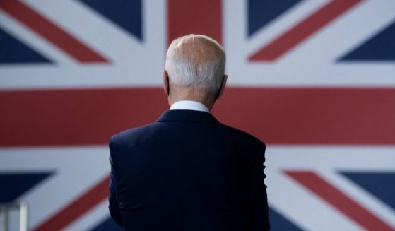 President Joe Biden prepares to address US Air Force personnel and their families stationed at Royal Air Force Mildenhall, Suffolk, England, on Wednesday.
