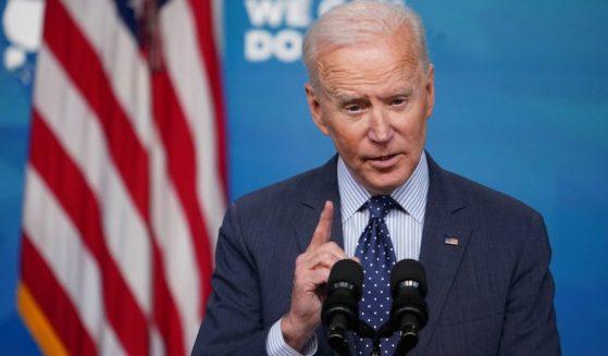 President Joe Biden speaks at the Eisenhower Executive Office Building in Washington, D.C., on Wednesday.
