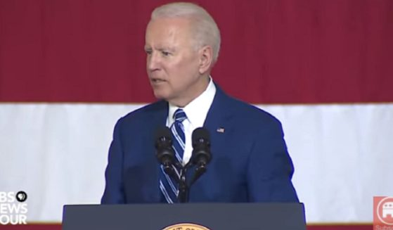 President Joe Biden speaks Friday to military personnel at Joint Base Langley-Eusis in Hampton, Virginia.