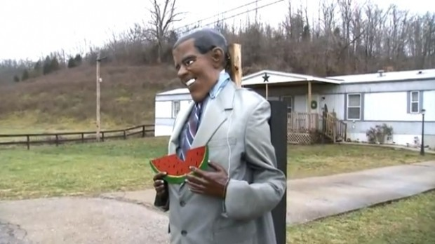 xlarge1 620x348 Racist? Kentucky Man Under Fire For Effigy Of Obama Eating Watermelon