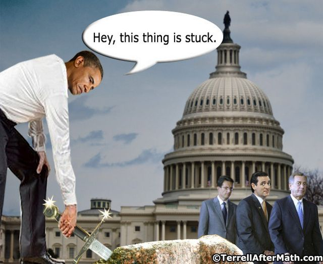 Obama Excalibur Stuck Cantor Cruz SC Obamas Hubris: Im Too Important to Negotiate
