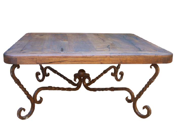 mesquite and iron square cocktail table