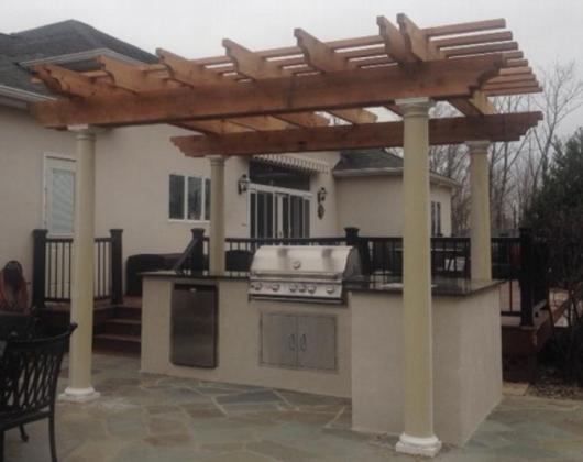 Pergola  Arbors  Outdoor Kitchen  Western Red Cedar Pergolas 12X14  3X10 2X8 Series  Outdoor Kitchen