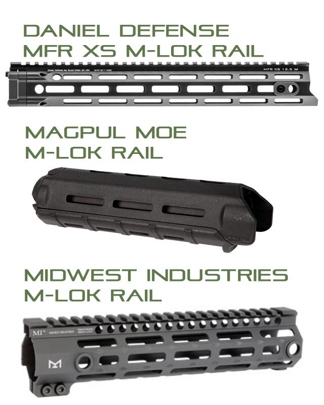 Example of Different M-Lok Handguards| Western Sport Blog
