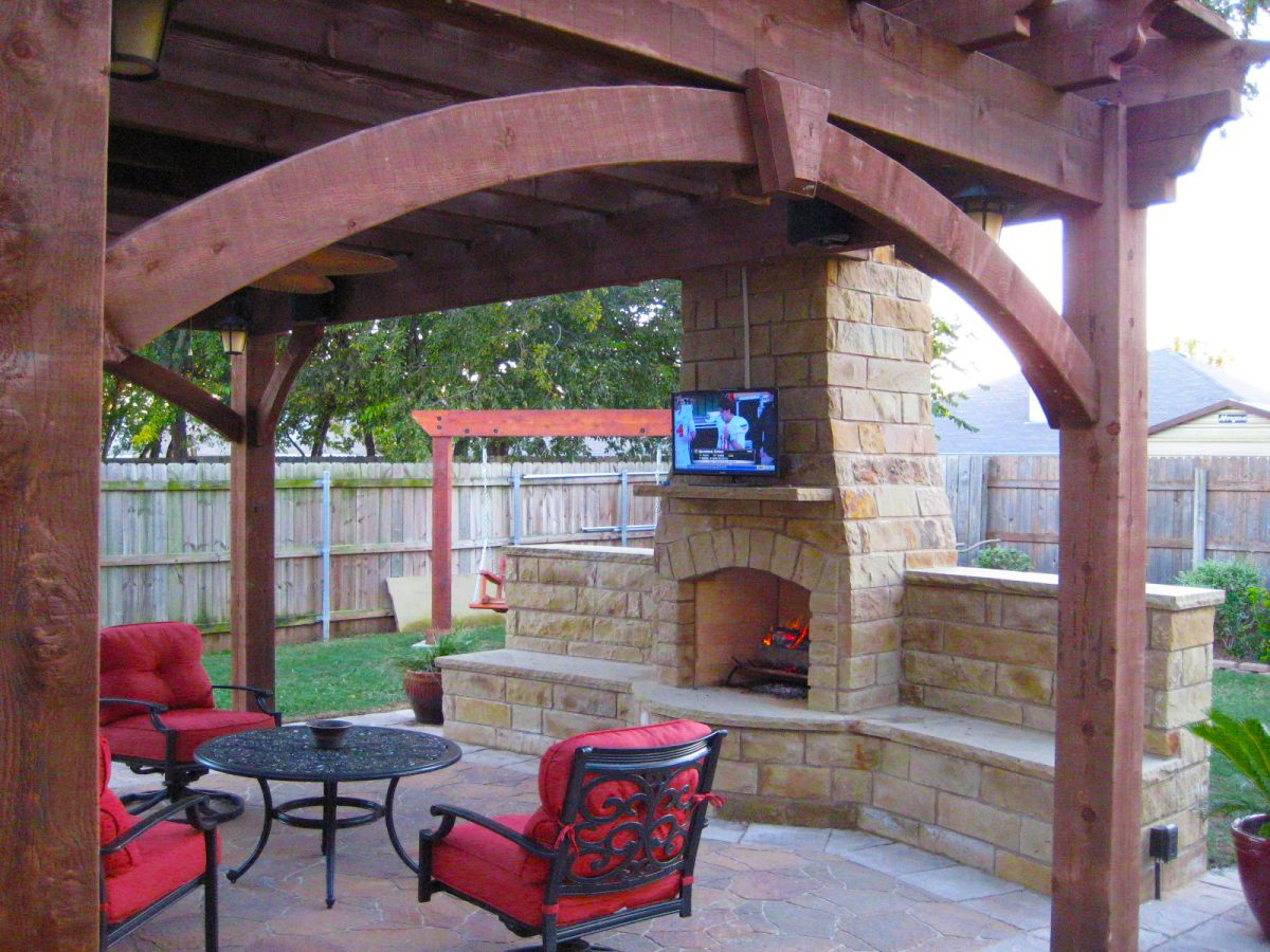 13 Fireplaces & DIY Outdoor Shade Structures | Western ... on Simple Outdoor Brick Fireplace id=70822