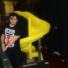 No rock concert is complete without a playground slide backstage.