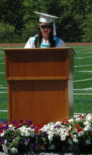 Shannon Pecora of Westford delivers her speech as salutatorian of the Nashoba Tech Class of 2014. (Credit: Derek Rochon)