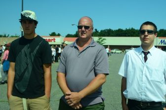 (l to r) Westford Market Basket employees Caden Daigle, Dave Daigle and Dana Vandervie