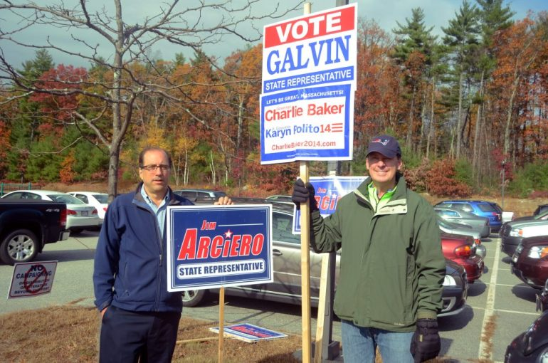 Perry Gould (left) and Kris Lokere at the Miller School around 11 a.m. on Election Day