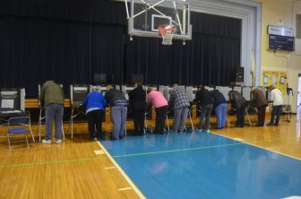 There were plenty of voters at the Abbot School