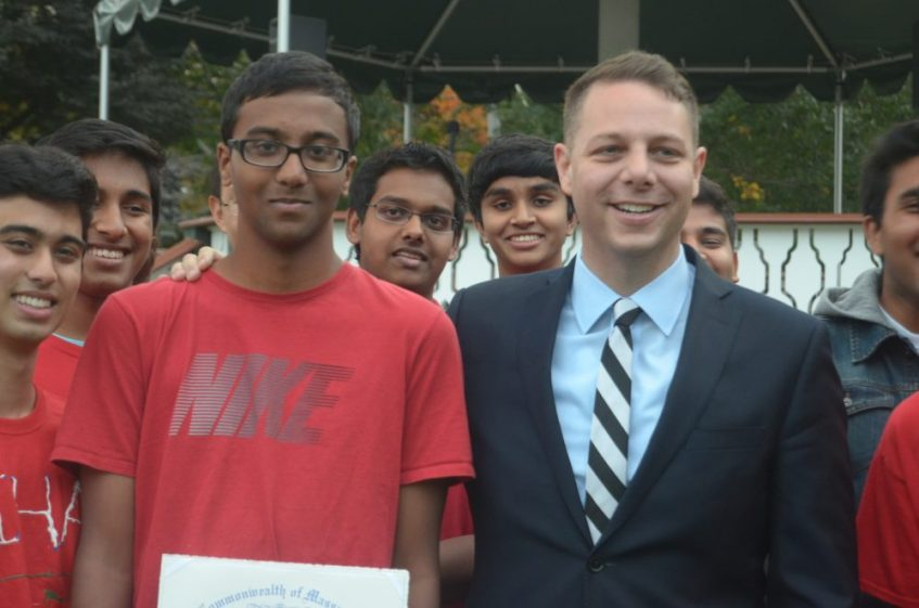 Westford Academy Student Fall Market Manager Nihaal Korandla is honored with a citation from the Massachusetts House of Representatives, presented by State Representative James Arciero
