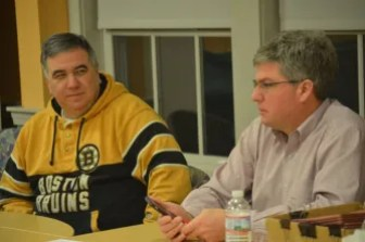 Westford Fire Department Chief Joe Targ (left) and Permanent Town Building Committee Chairman Tom Mahanna on Jan. 25, 2016