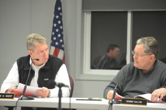 Darren Wizst (left) and Dennis Galvin at the Feb. 16, 2016 Planning Board meeting.