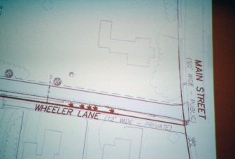 Part of the slide showing the intersections of Main Street, Wheeler Lane and where Kinloch Drive would be, just above (north) Wheeler Lane.