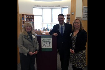 (l to r) Ellen Rainville, the Executive Director of the Westford's J.V. Fletcher Library, State Representative James Arciero and Chelmsford Library Director Becky Herrmann (courtesy - Office of James Arciero)