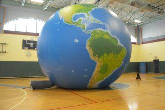 The giant globe inside the Stony Brook gymnasium.