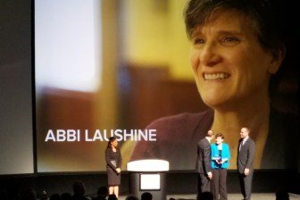 Host Soledad O'Brien (far left) stands by as Abbi Laushine (middle right), life enrichment director at Bridges by EPOCH at Westford, accepts her 2016 Hero Award at the Argentum 2016 Senior Living Executive Conference in Denver on May 10.  (courtesy photo)